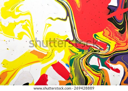 Abstract acrylic modern painting fragment. Colorful rainbow stains texture. Contemporary art. Spray paint.  - stock photo