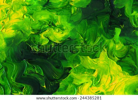 Abstract acrylic painted background. Hand drawn green strokes. Ecology backdrop. Imitation of child's drawing. - stock photo