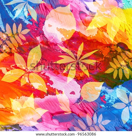 Abstract acrylic painted background with leaf - stock photo