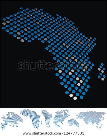 abstract Africa map from on array of blue and gray metallic points, on black background with maps of the continents on the white bottom line - stock photo