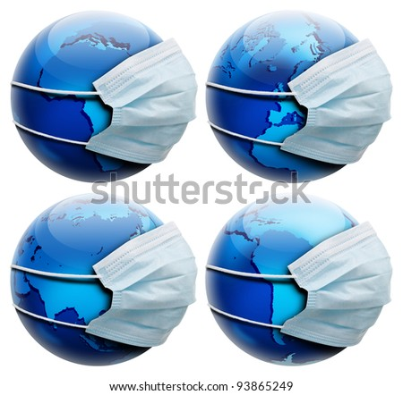 Abstract allegory concept with earth and medicine flu mask.  Isolated on white background and few different continent positions. - stock photo