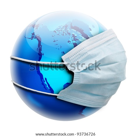 Abstract allegory concept with globe and medicine flu mask.  Isolated on white background. - stock photo