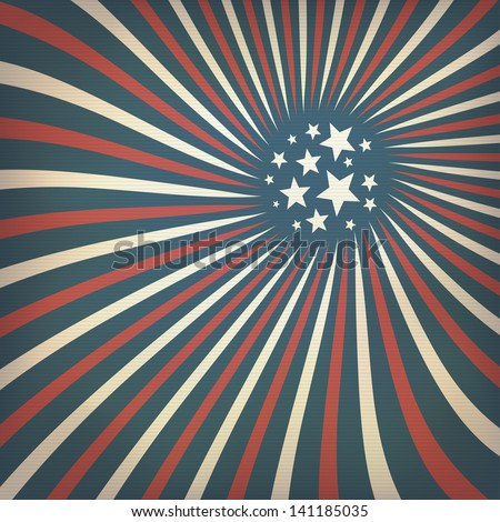 Abstract american flag themed background with stars. Raster version, vector file available in my portfolio. - stock photo
