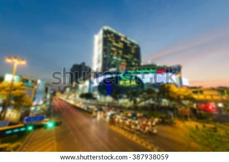 Abstract and Blur of car Traffic in Bangkok night life - stock photo