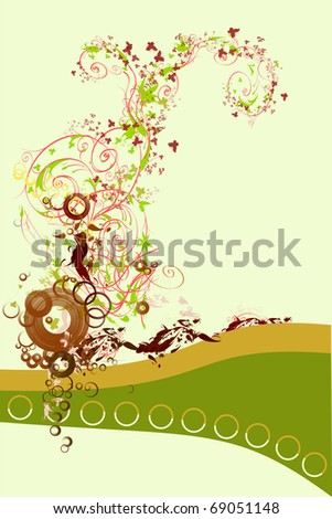 Abstract and grunge elements with ornament shapes and circles. - stock photo