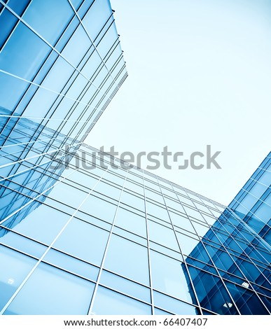 abstract angle of glass skyscrapers - stock photo