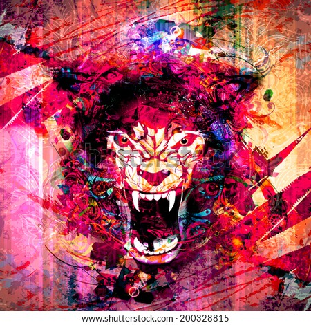Abstract animal face background - stock photo