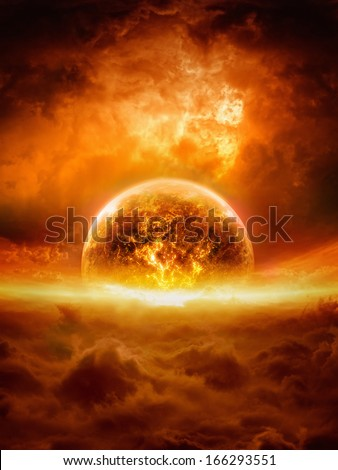 Abstract apocalyptic background - burning and exploding planet Earth in red sky, hell, end of world. Elements of this image furnished by NASA - stock photo