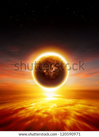 Abstract apocalyptic background - sunset, red sky, exploding planet, end of world - stock photo