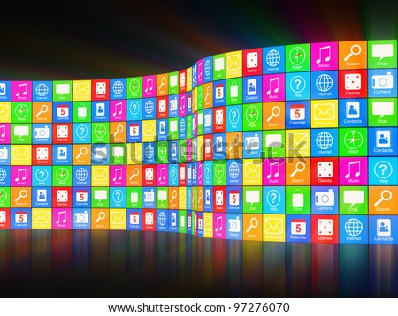 Abstract APPS Background with Glowing Rays - stock photo