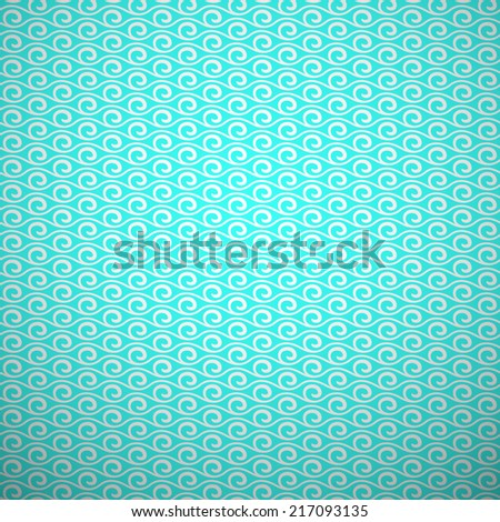 Abstract aqua elegant seamless pattern. Blue and white, aqua style pattern with curve and line. Illustration. Delicate knitted fabric texture background. Book and wall cover. - stock photo