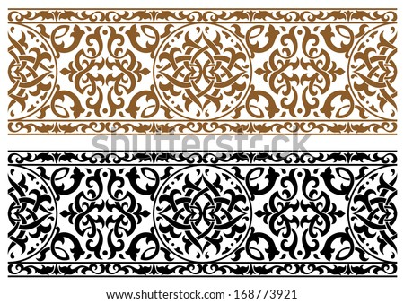 Abstract arabic ornament in two colors for design and ornate. Vector version also available in gallery - stock photo