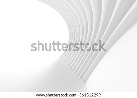 Abstract Arch Interior. 3d White Background - stock photo