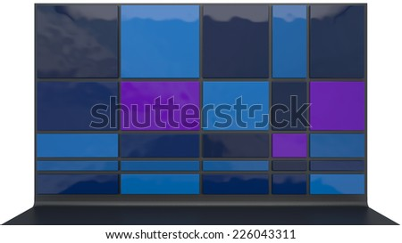 abstract architectural background made of glossy plastic blocks dark colors