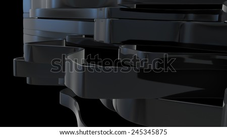 abstract architectural background with black glossy plastic ribbons - stock photo