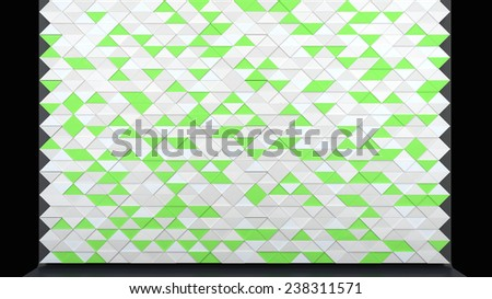 abstract architectural background with decorative interior panel made of triangles in stylish colors - stock photo