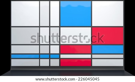 abstract architectural background with glossy plastic boxes in stylish colors