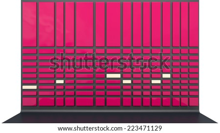 abstract architectural background with red plastic panels
