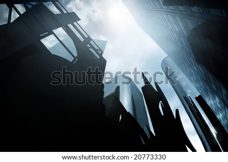 Abstract architectural city scape a group of ominous skyscrapers with sun flare