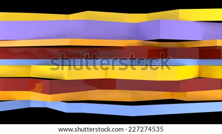 abstract architectural composition with broken plastic panels colored in stylish colors - stock photo