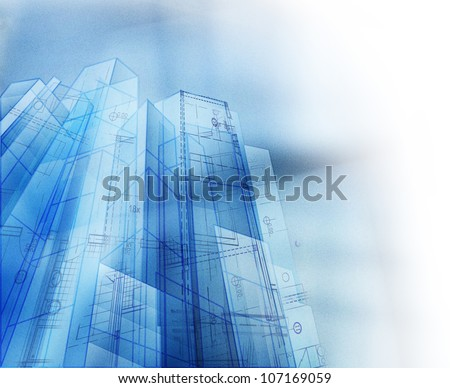 Abstract architectural concept with copyspace - stock photo