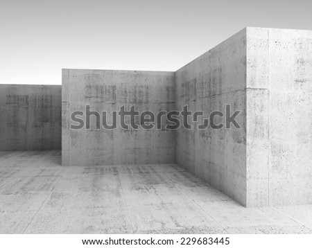 Abstract architectural 3d background with white concrete empty room interior - stock photo