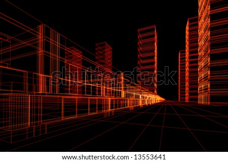 Abstract architectural 3D construction. Concept - modern architecture and designing - stock photo