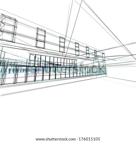 Abstract architectural 3D construction. Concept - modern architecture and designing. - stock photo