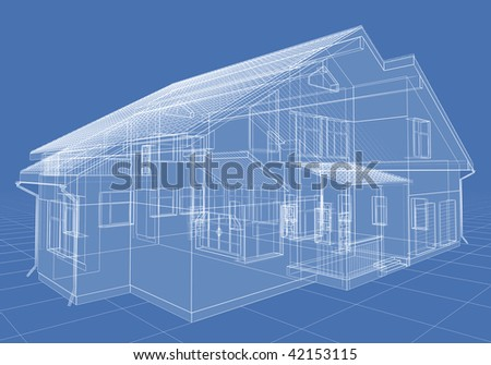 Abstract architectural 3D drawing of apartment house on blue. - stock photo
