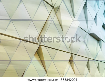 Abstract architectural illustration. triangles double exposure facade - stock photo
