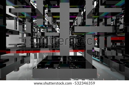 Abstract architectural interior with an array of black glass geometric figures that have colored inserts. 3D illustration and rendering