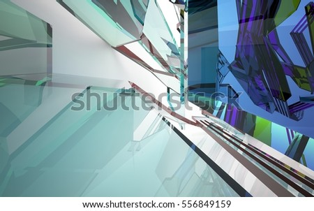 abstract architectural interior with gradient geometric glass sculpture with brown lines. 3D illustration and rendering
