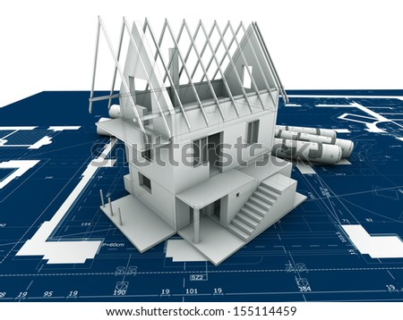 abstract architectural plan - architectural drawing - stock photo