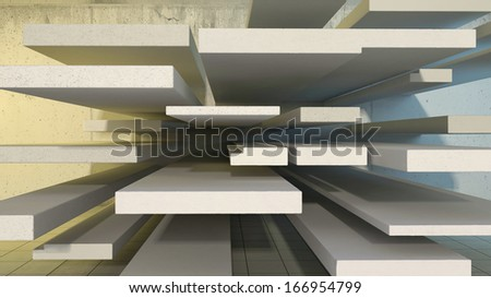 abstract architectural space with many concrete blocks different size