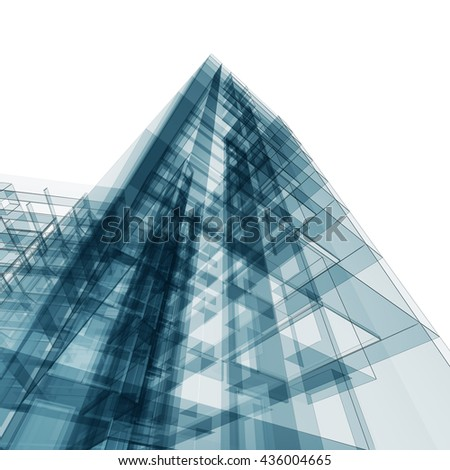 Abstract architecture. Architecture design and model my own. 3D rendering - stock photo