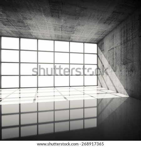 Abstract architecture background, empty concrete interior with bright windows in modern frames, 3d illustration with retro toned filter, instagram style - stock photo