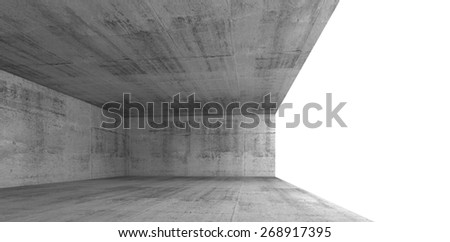 Abstract architecture background, empty concrete interior with white window opening, 3d illustration with copy-space area - stock photo
