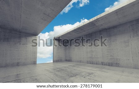 Abstract architecture background, empty concrete room interior with opening in ceiling and wall, 3d illustration - stock photo