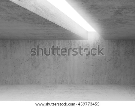 Abstract architecture background, empty concrete room interior with white light opening in ceiling, 3d illustration