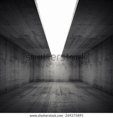 Abstract architecture background, empty concrete room interior with white opening in ceiling, square 3d illustration - stock photo