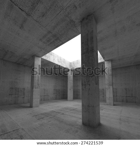 Abstract architecture background, empty dark concrete room interior with white square opening in ceiling and columns, 3d illustration - stock photo