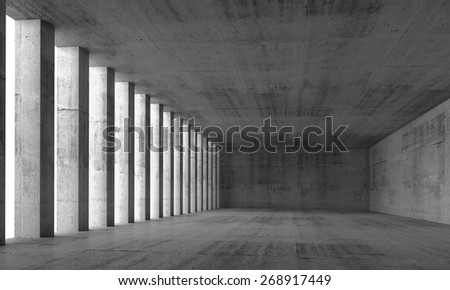 Abstract architecture background, empty interior and concrete walls and columns, 3d illustration with perspective effect - stock photo