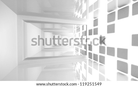 Abstract architecture background. Empty white modern bent corridor