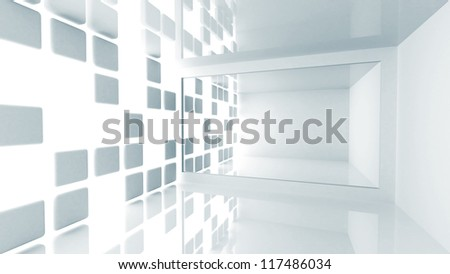 Abstract architecture background. Empty white modern room interior