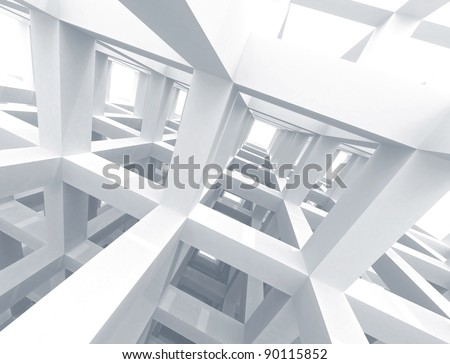 Abstract architecture background. Internal space of a modern braced construction - stock photo
