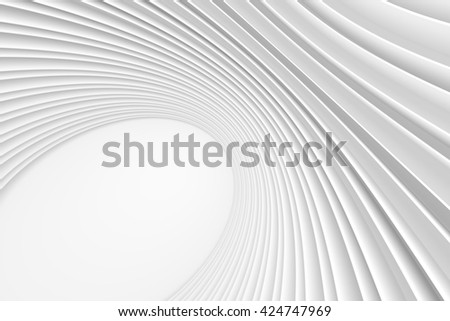 Abstract Architecture Background. White Circular Building. 3d Rendering of Minimal Architectural Design - stock photo