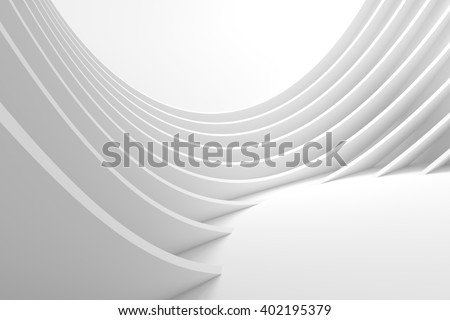 Abstract Architecture Background. White Circular Building. Modern Architectural Design. White Building Concept - stock photo