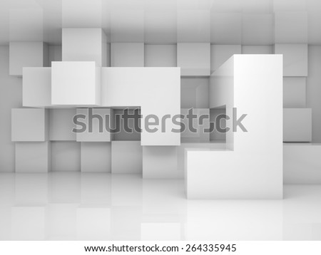 Abstract architecture background with white chaotic cubes pattern on the wall. 3d render - stock photo
