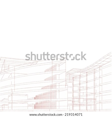 abstract architecture building sketch on white background