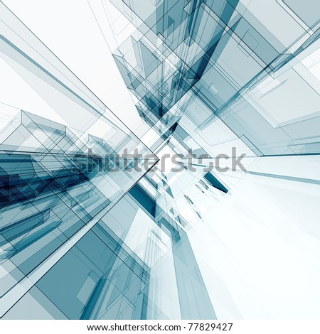 Abstract architecture. 3d render - stock photo